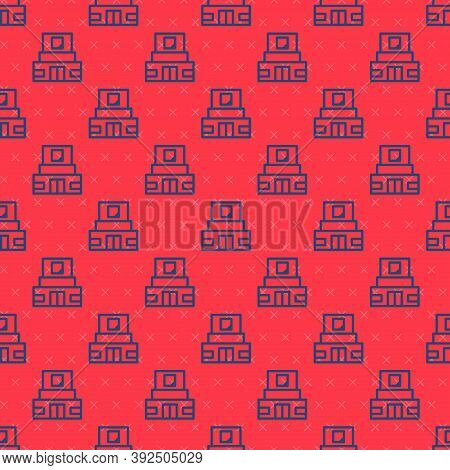 Blue Line Mausoleum Of Lenin Icon Isolated Seamless Pattern On Red Background. Russia Architecture L