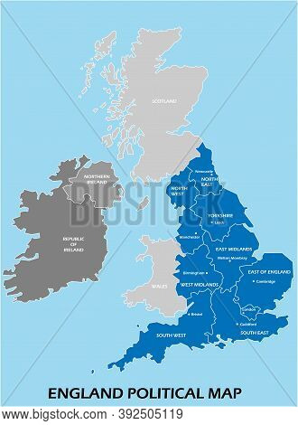 England Political Map Divide By State Colorful Outline Simplicity Style. Vector Illustration.