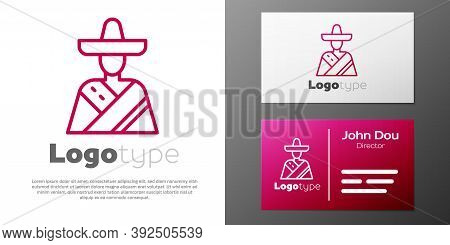 Logotype Line Mexican Man Wearing Sombrero Icon Isolated On White Background. Hispanic Man With A Mu