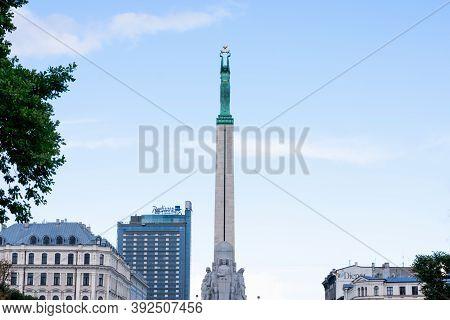 Riga, Latvia - September, 2019: The Freedom Monument In Riga Town In Latvia As Symbol Of The Freedom