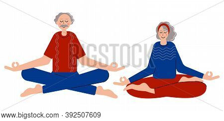 Meditating Senior Couple. A Cuple Spend Time With Each Other And Meditate To Feel More Relaxed. Medi