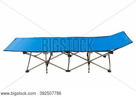 Blue Modern Camping Cot, On White Background