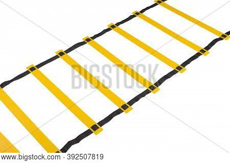 Yellow Coordination Ladder, On A White Background, Photograph Of A Part Of The Ladder, Close-up