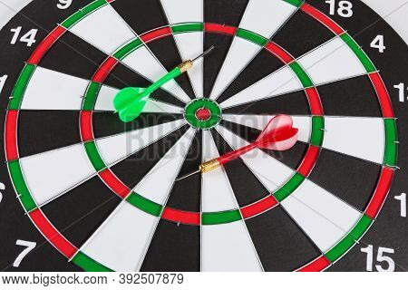Close Up Target And Two Color Darts, Competition Concept