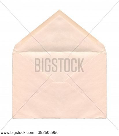 Front View Closeup Of Open Blank Old Aged Beige Letter Paper Envelope Isolated On White Background