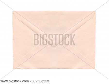 Front View Closeup Of Closed Blank Old Aged Beige Letter Paper Envelope Isolated On White Background