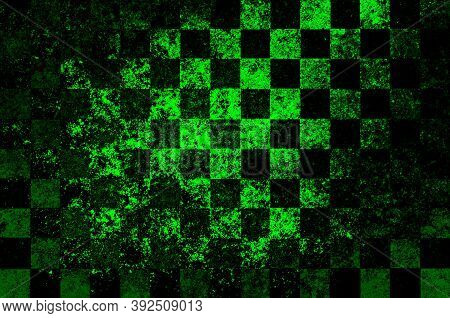 Bright Green Black Checkered Background With Blur, Gradient And Texture Grunge. Classic Checkered Ge