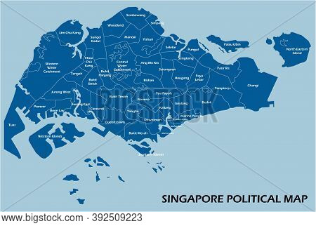 Singapore Political Map Divide By State Colorful Outline Simplicity Style. Vector Illustration.
