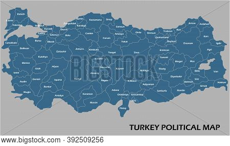 Turkey Political Map Divide By State Colorful Outline Simplicity Style. Vector Illustration.