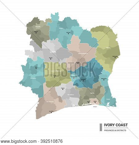 Ivory Coast Higt Detailed Map With Subdivisions. Administrative Map Of Ivory Coast With Districts An