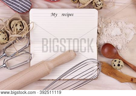 Baking And Bakery Concept.blank Open Empty Recipe Cooking Book On Utensils And Ingrediets Background