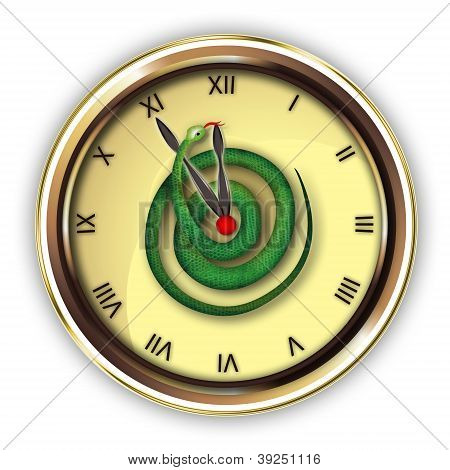 Clock with snake near clock hand