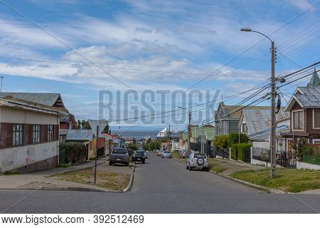 Punta Arenas, Chile-february 10, 2020: Cityscape Of Punta Arenas, Magallanes Region, Chile