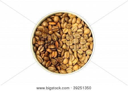 Coffee Beans Of Two Grades In A Cup