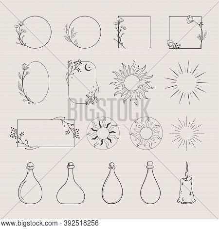 Collection Of Vector Logo Design Elements, Decorative Geometric Floral Frames, Borders, Wreaths, Sun