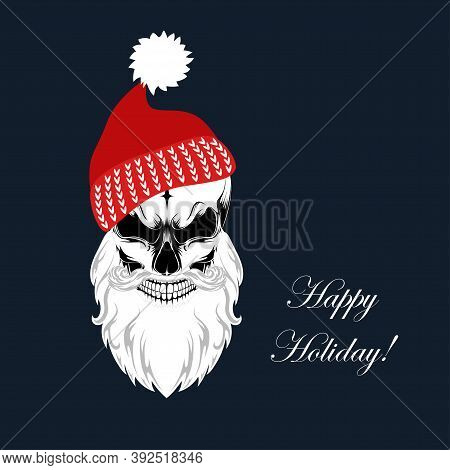 Vector Image Of A Skull In A Red Cap With A Beard.