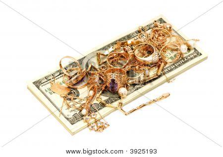 Dollari e ornamenti d'oro