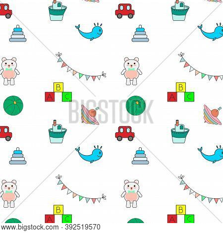 Pattern Of Childrens Colorful Toys: Boat, Teddy Bear, Ball, Pyramid, Cubes, Flags, Yule, Typewriter