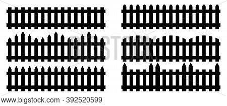 A Set Of Fences. Isolated Icons Of Wooden Fences. Flat Style Vector Illustration.