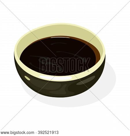Soy Sauce Is In Black Boil. Liquid Condiment Of Chinese Origin, Traditionally Made From Fermented Pa