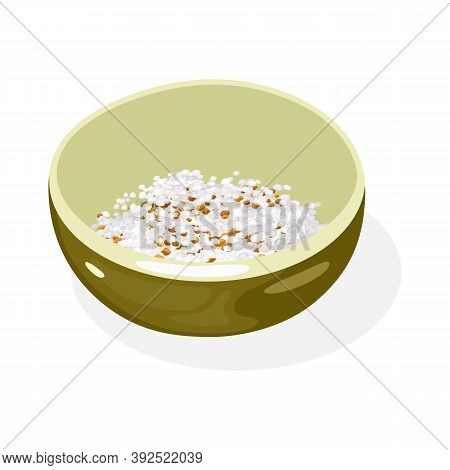 Crushed Roasted Sesame Seeds And Peanuts Are In Olive Green Colored Bowl. Delicious Asian Seasoning