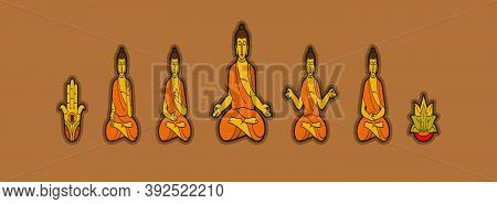 Set Of Cute Buddha Meditation Cartoon Icon Design Template With Various Models. Vector Illustration