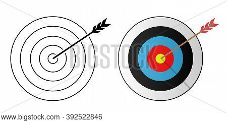 Target And Arrow Icons. Flat Icon. Black And White And Color Target With An Arrow In The Center. Vec