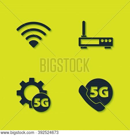 Set Wi-fi Wireless Network, Phone With 5g, Setting And Router And Wi-fi Signal Icon. Vector