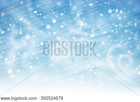 Blue Winter Brushstrokes Background With Whirlwind And Snow. Space For Your Text. Vector Illustratio