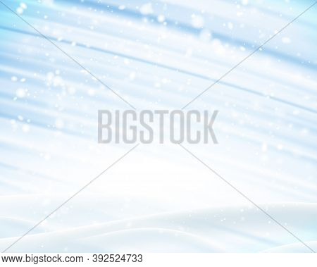 Winter Background With Snowdrift And Light Blue Brushstrokes. Space For Your Text. Vector Illustrati