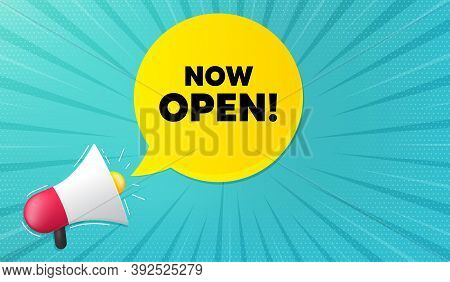 Now Open. Background With Megaphone. Promotion New Business Sign. Welcome Advertising Symbol. Megaph