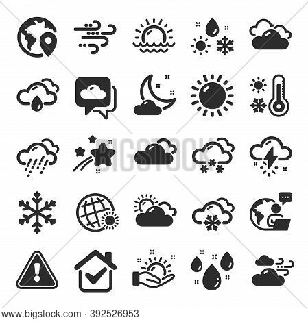 Weather And Forecast Icons. Cloudy Sky, Winter Snowflake, Thermometer. Moon Night, Rain And Sunset I