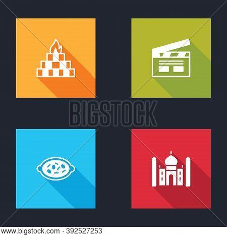 Set Yagna, Bollywood Indian Cinema, Kheer Bowl And Taj Mahal Icon. Vector