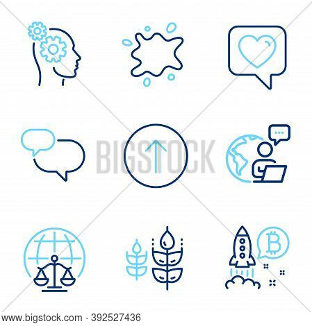 Business Icons Set. Included Icon As Swipe Up, Bitcoin Project, Heart Signs. Chat Message, Magistrat