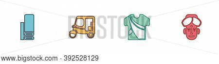 Set Indian Textile Fabric, Taxi Tuk Tuk, Man Dress And Icon. Vector