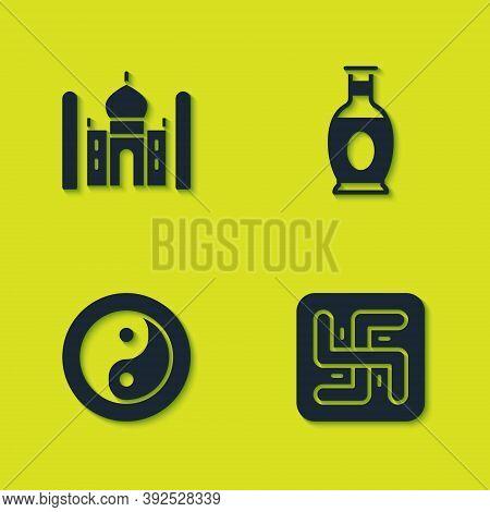 Set Taj Mahal, Hindu Swastika, Yin Yang And Indian Vase Icon. Vector