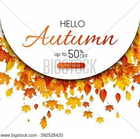 Autumn 50 Season Sale. Promotion Poster With Color Leaves. Shop Online. Vector Background.
