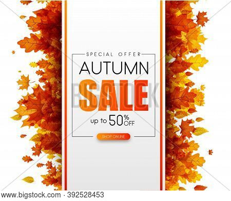 Autumn 50 Sale. Special Offer. Promotion Card With Orange Leaves. Online Shopping. Vector Background