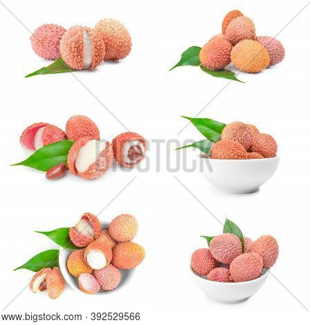 Collection Of Litchi Isolated On A White Background Cutout