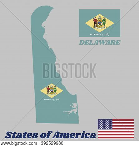 Map Outline And Flag Of Delaware. Yellow Diamond Shape On Green With Coat Of Arms Of The State And T