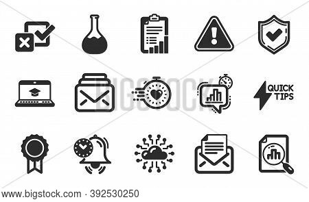 Checklist, Mail And Analytics Graph Icons Simple Set. Checkbox, Quickstart Guide And Website Educati