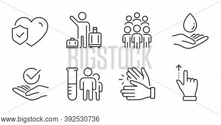 Water Care, Touchscreen Gesture And Medical Analyzes Line Icons Set. Life Insurance, Group People An