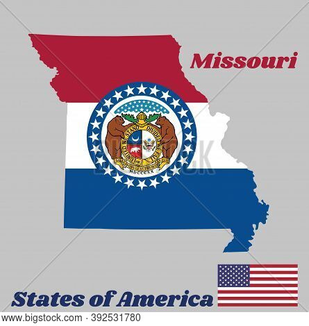 Map Outline And Flag Of Missouri. Red White And Blue Color. The Missouri Seal, Surrounded By A Blue