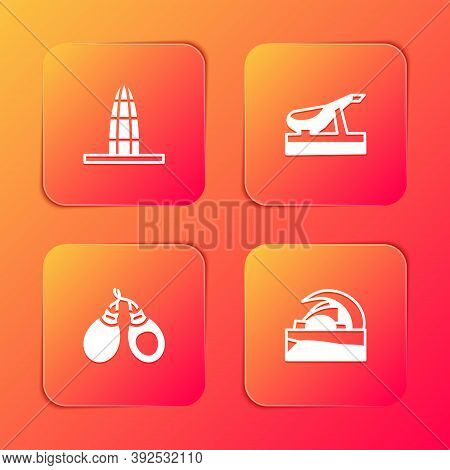 Set Agbar Tower, Spanish Jamon, Castanets And Concert Hall De Tenerife Icon. Vector