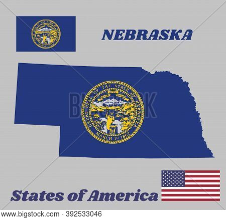 Map Outline And Flag Of Nebraska And The State Name. Seal Of Nebraska In Gold On An Azure Field. The