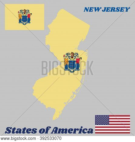Map Outline And Flag Of New Jersey. The State Coat Of Arms On Buff Color, The States Of America And