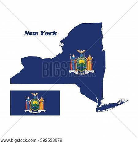 Map Outline And Flag Of New York And The State Name. Coat Of Arms Of The State Of New York On Blue F