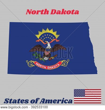 Map Outline And Flag Of North Dakota. Flag Of The Unit By State Troops In The Philippine-american Wa