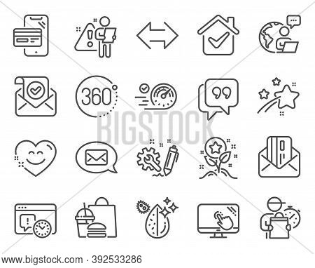 Technology Icons Set. Included Icon As Confirmed Mail, Quote Bubble, Engineering Signs. 360 Degrees,