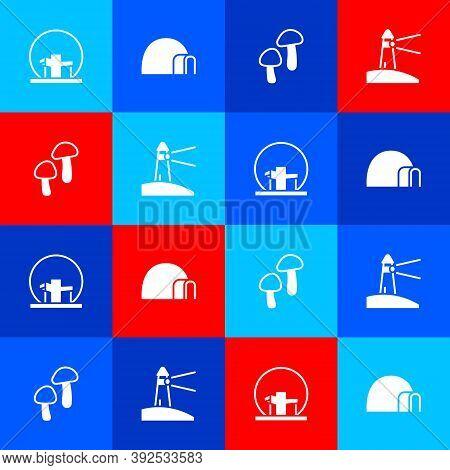Set Montreal Biosphere, Igloo Ice House, Mushroom And Lighthouse Icon. Vector